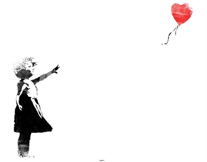 Heart Balloon Girl Print La Nina Del Globo Rojo Globo Rojo Ilustraciones Dibujos