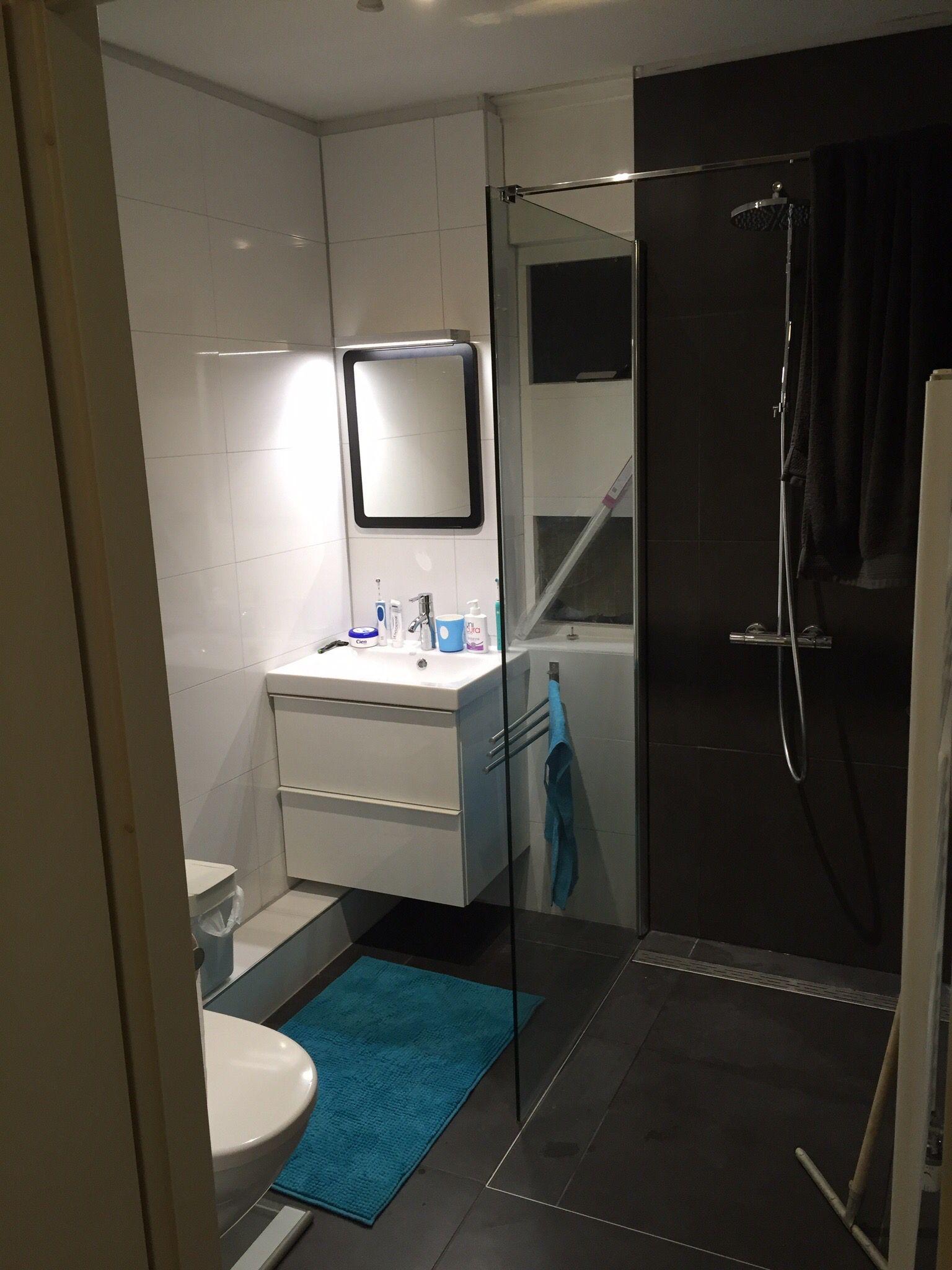 kleine badkamer met inloopdouche wastafel en toilet eigen
