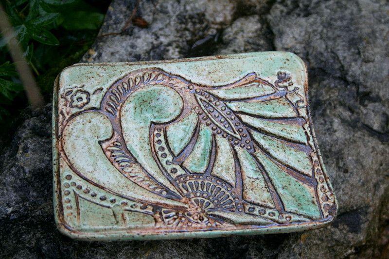 Bad Accessoires Keramik Seifenschale Ornamente Grun Unikat