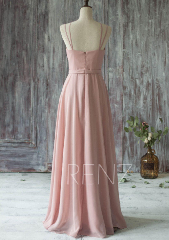 long chiffon bridesmaid dress straps blush wedding moda