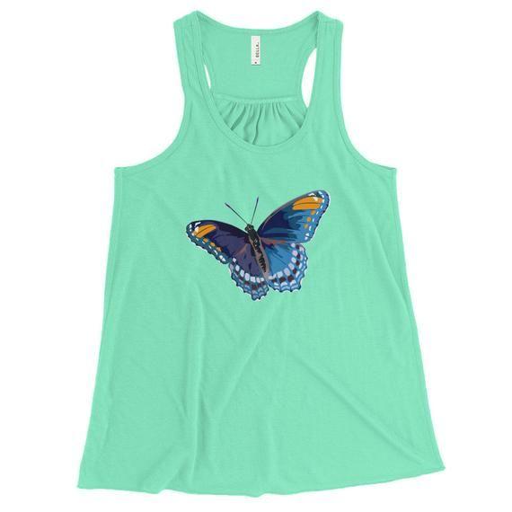 Photo of Blue Butterfly Raceback, tatouages de papillon uniques, Morpho Blue Butterfly Racerback pour les femmes, Yoga Racerback, Blue Raceback