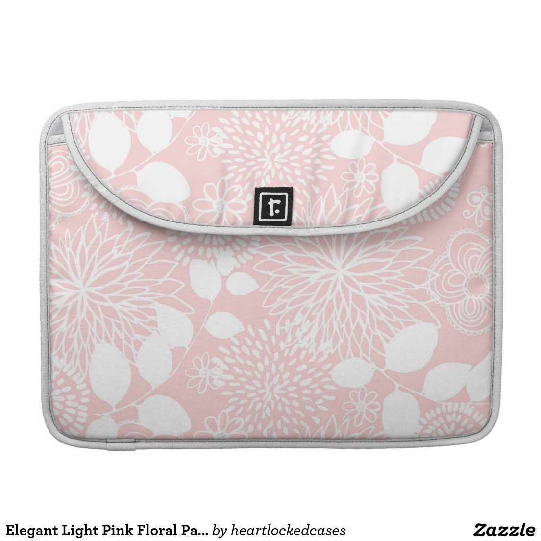 Elegant Light Pink Floral Pattern Sleeve For MacBook Pro