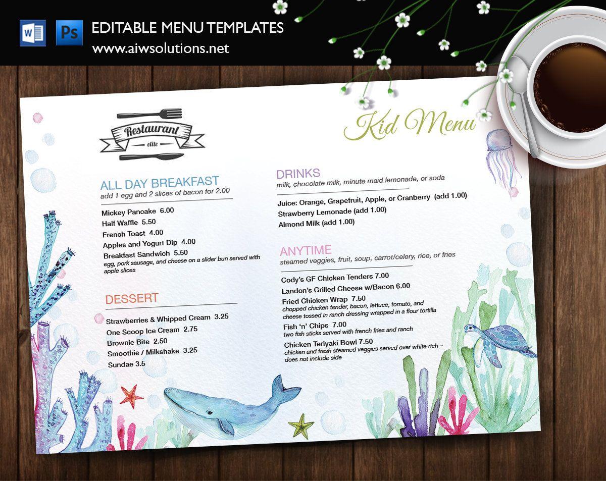 Kids menu design restaurant menu baby style restaurant