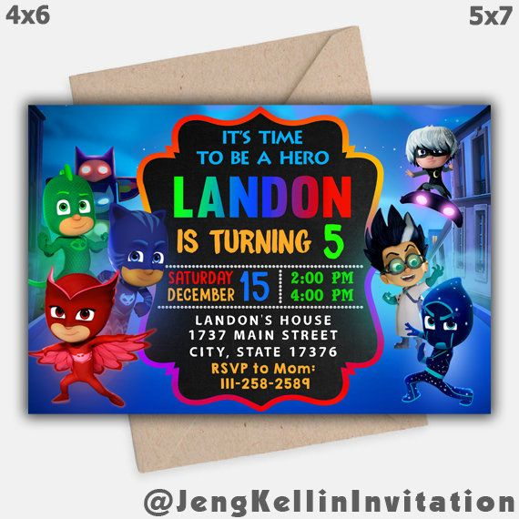 Pj Masks Invitation Birthday Party Invite Printable Download Digital What Is This