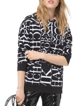 Michael Michael Kors Newsprint Logo Letter Cotton Hoodie