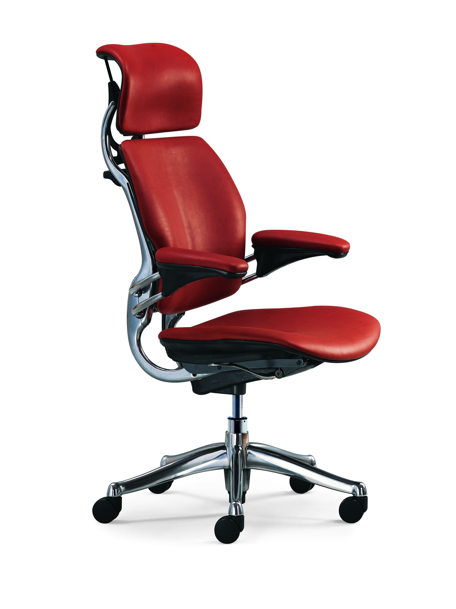 Freedom Headrest Humanscale Niels Diffrient Red Bright Product Photography Sty Leather Office Chair Most Comfortable Office Chair Best Office Chair
