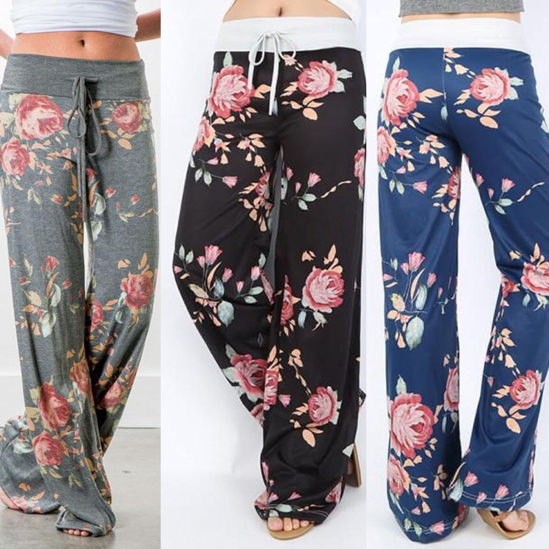 36e88bea528406 Women Summer Printed Floral Cotton Linen Wide Leg Pants Loose Trousers  Slacks