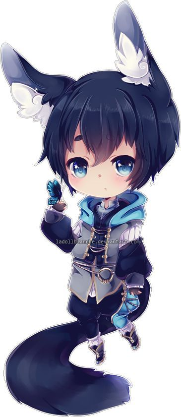 Cute Chibi Fox Boy Blue Hair And Clothes Chibis Anime Manga Art Kawaii Chibi Chibi Kawaii Anime
