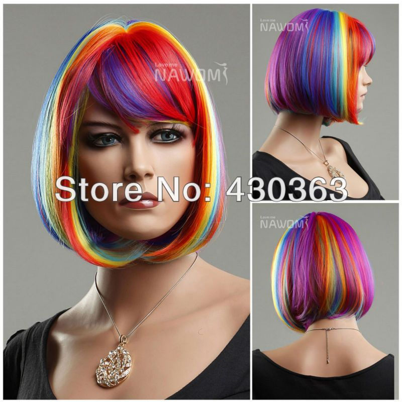 Rainbow Wig Short Bob Wig with Bangs Anime Cosplay Wig