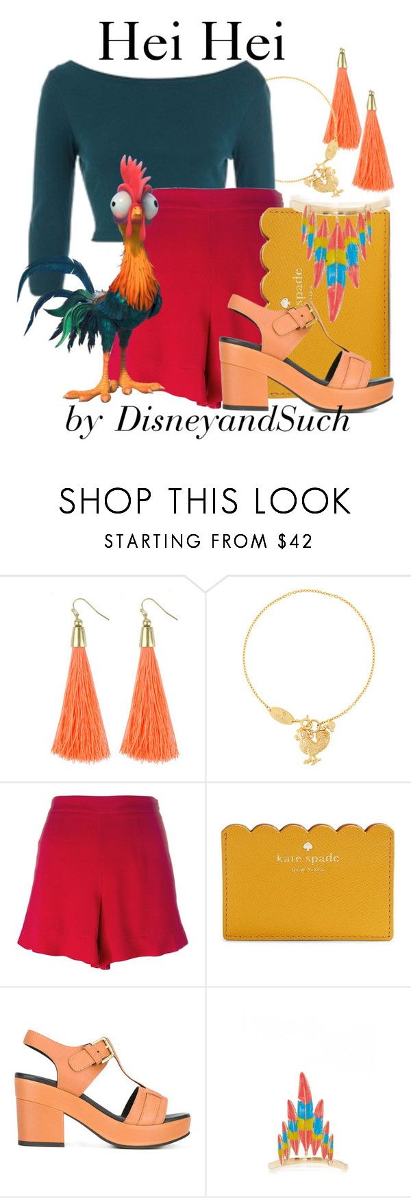 """""""Hei Hei"""" by disneyandsuch ❤ liked on Polyvore featuring Vivienne Westwood, ASOS, RED Valentino, Kate Spade, Cotélac, Luis Morais, disney, disneybound, moana and WhereIsMySuperSuit"""