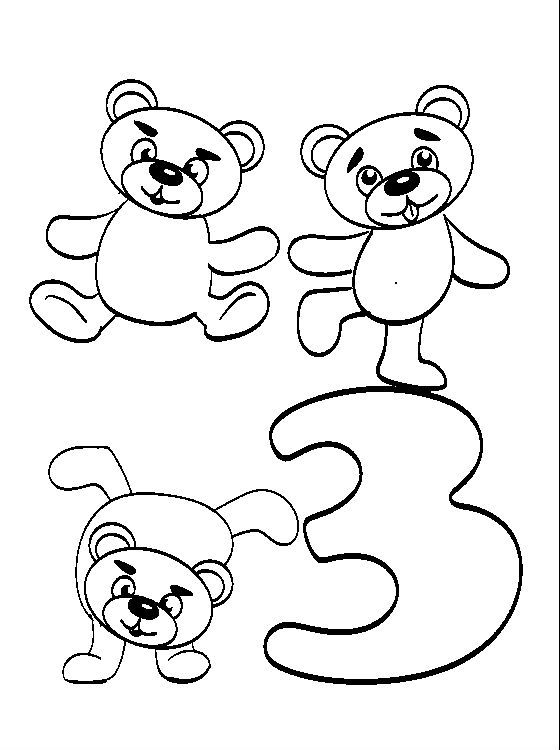 Animal Numbers Three Bears Children Coloring Pages For Kids #fka ...