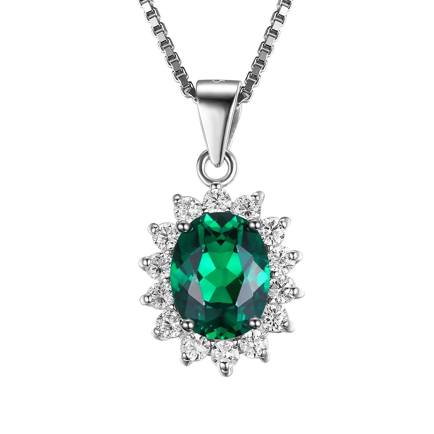 925 STERLING SILVER OVAL HALO PENDANT NECKLACE W// 2.50 CT LAB DIAMONDS //18/'/'