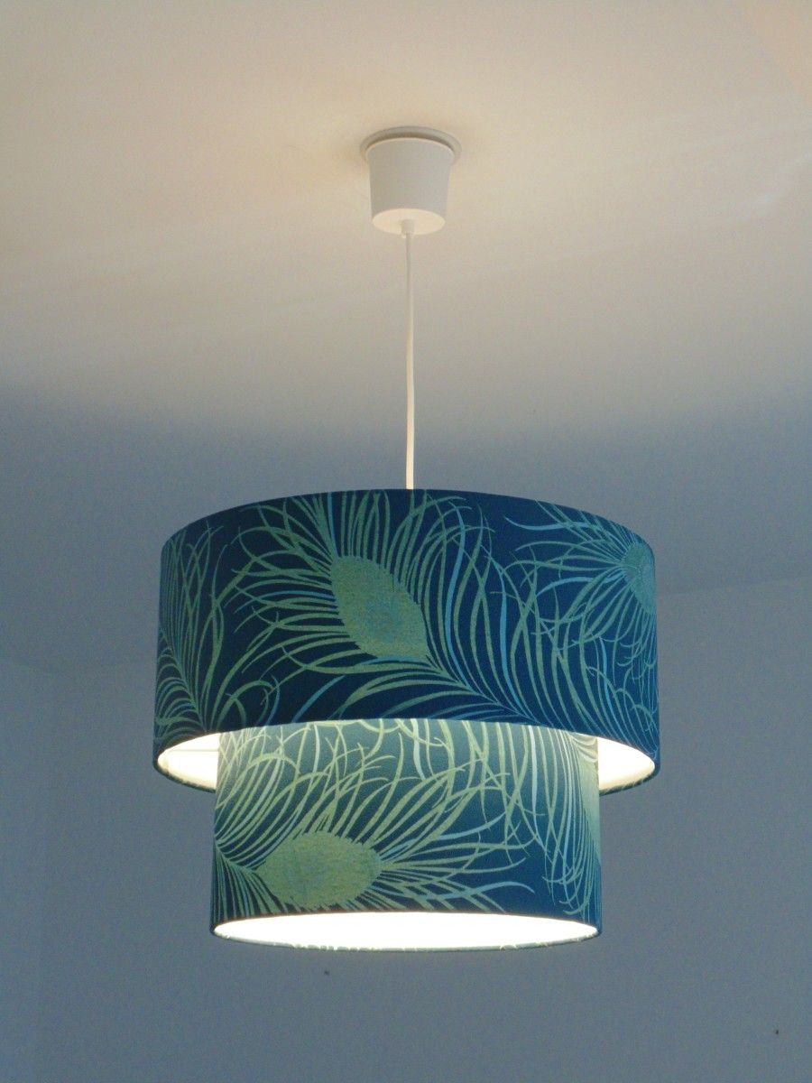 Suspension Bleu Canard Lustre Suspension Plafonnier Double Abat Jour Plumes De Paon