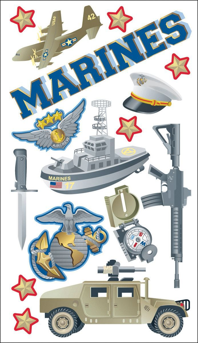 Free Shipping! State of Mine Stickers for Scrapbooks & Cards - U S Marine  Corps - The Few, the Proud, the Marines - 8.5
