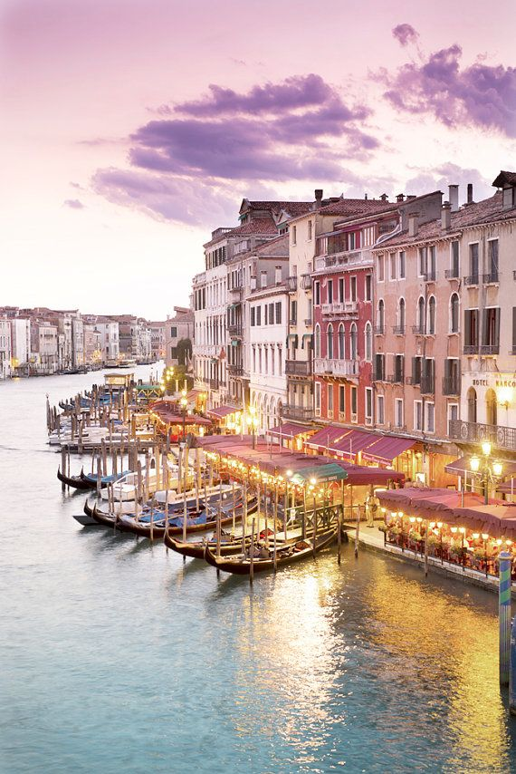 Venice Photography - Evening at the Rialto Bridge, Sunset on the Canal, Gondolas, Wall Decor, Italy Travel Photograph