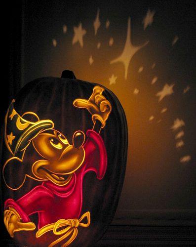 Sorcerer Mickey With Star Shadow Disney Pumpkin Disney Pumpkin Carving Mickey