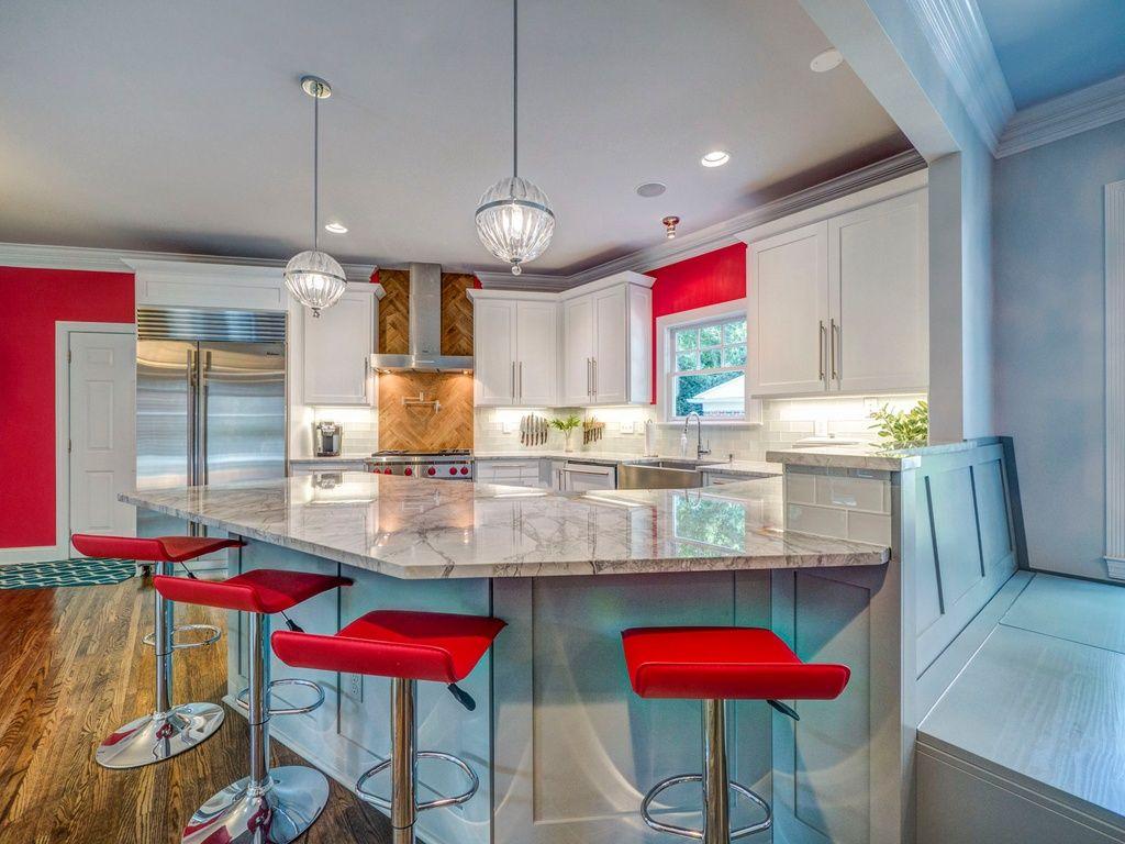 Transitional kitchen with lshaped flush light flush subway tile