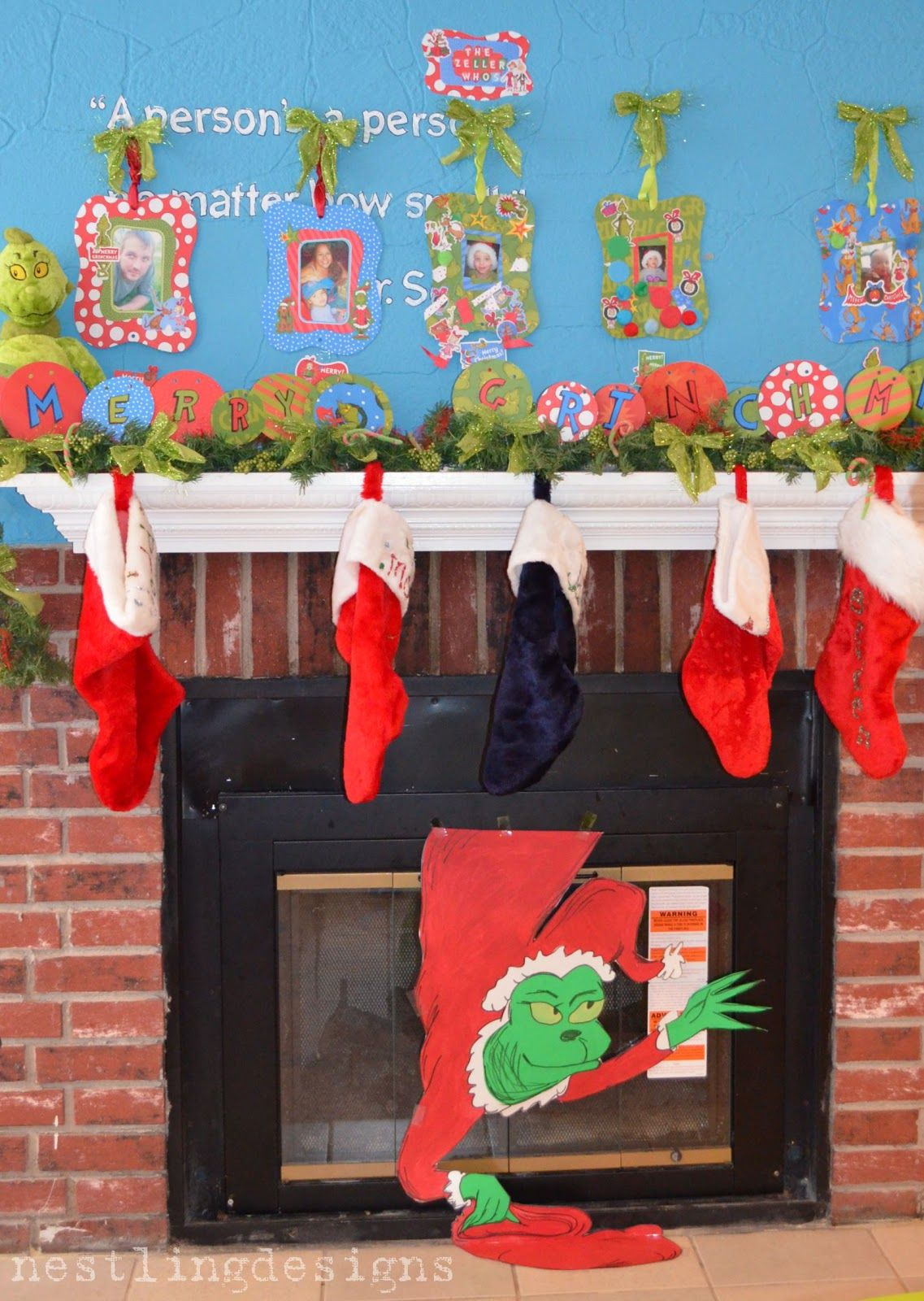 Have the Grinch come out of the fireplace #grinch #