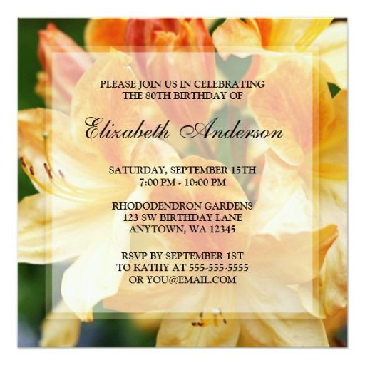 Orange Rhododendron Flowers 80th Birthday Party Invites