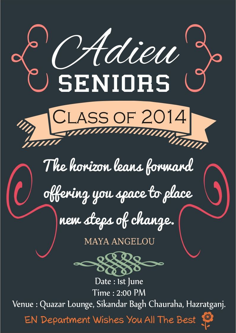 Invitation Card For Farewell Party To Seniors Templates ...