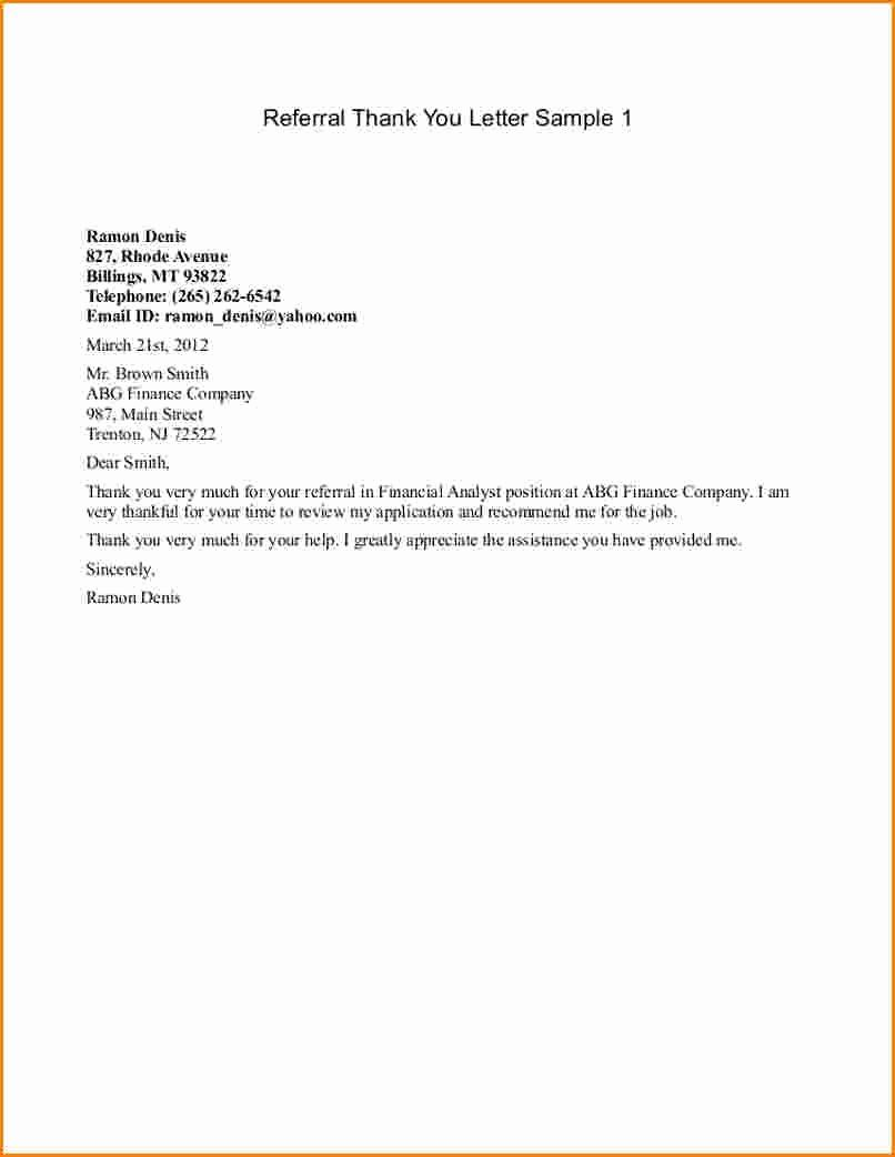 Medical referral letter template lovely referral thank you