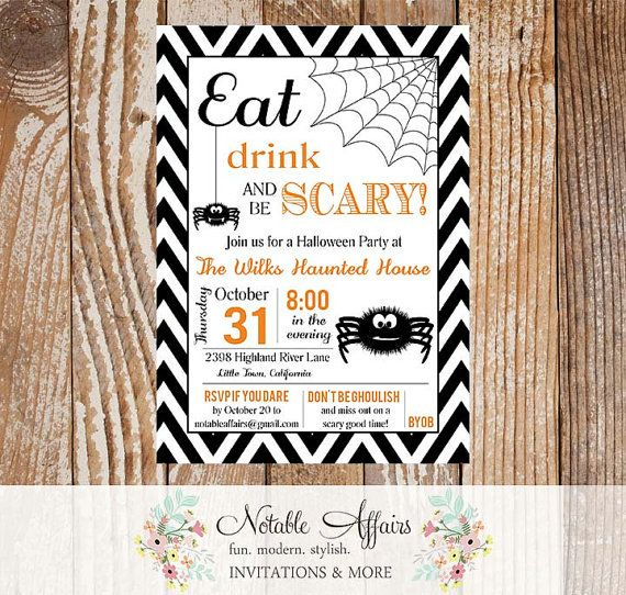 Eat Drink and Be Scary Modern Chevron and Spiders Halloween Party Invitation - Black white and orange