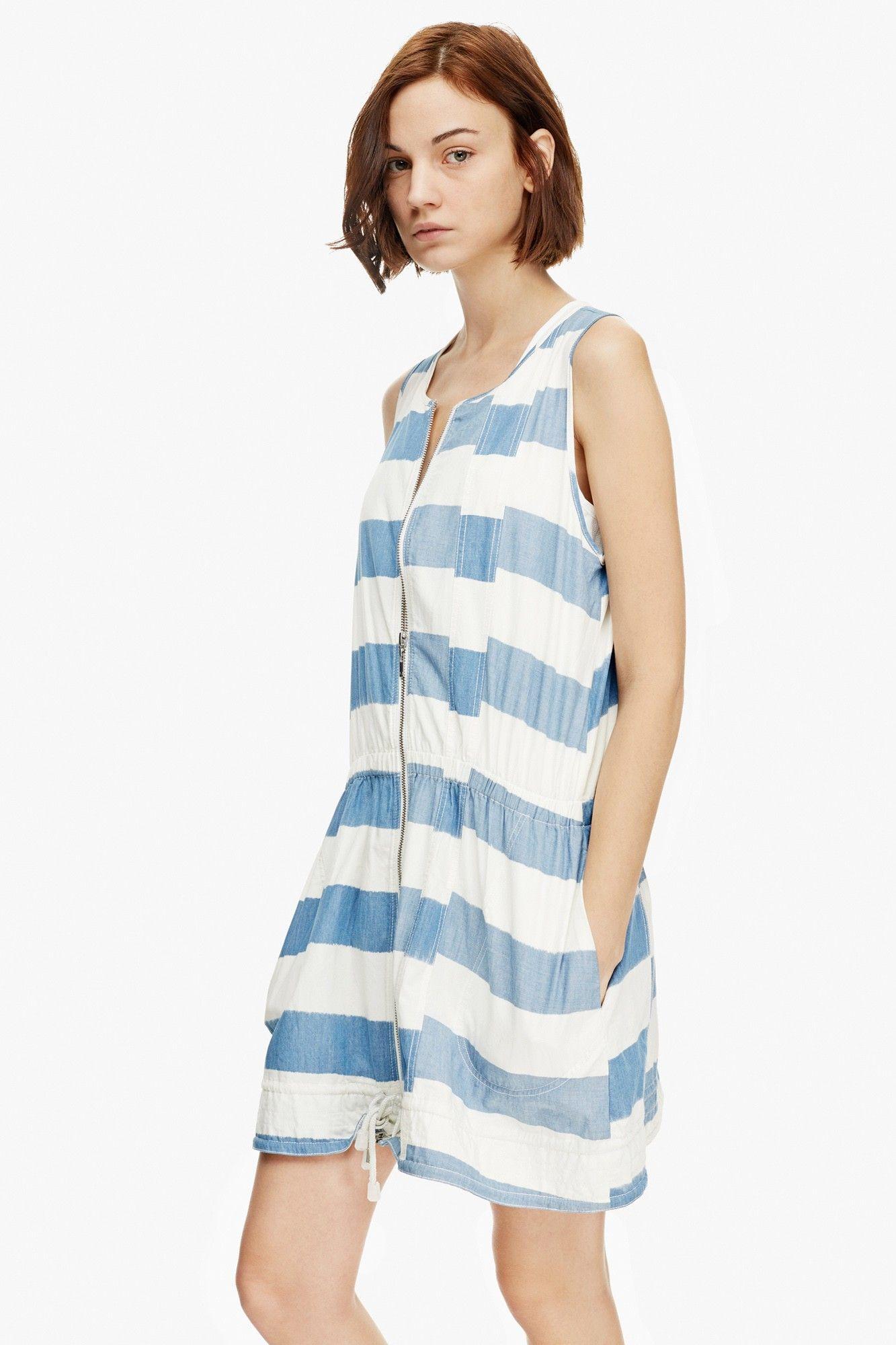 Vestido sport a base de franjas bicolor jard n de las for Vestidos adolfo dominguez outlet online