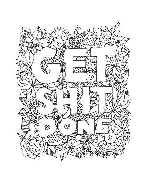Get shit done quote digital print hand drawn line drawing quote