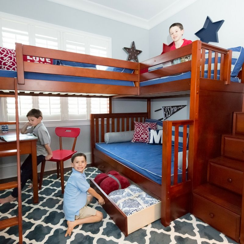 High Twin Over Full Corner Loft Bunk Bed With Ladder Stairs In
