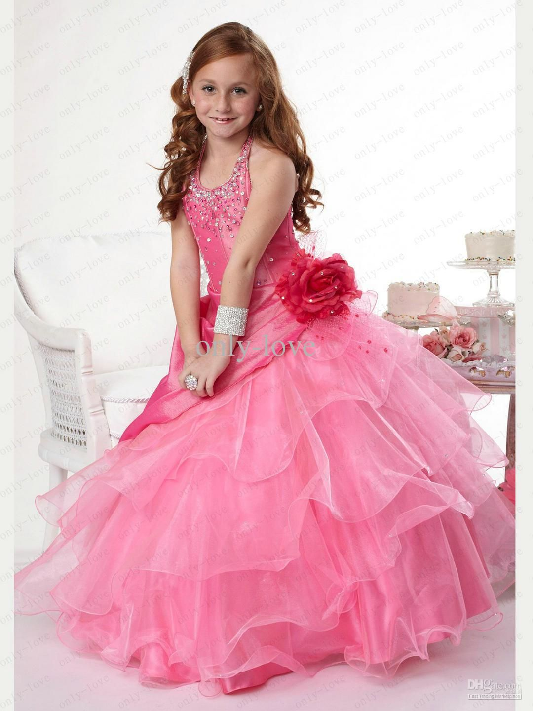 Chic Coral A Line Flower Girl Dresses Halter Beads Rhinestones
