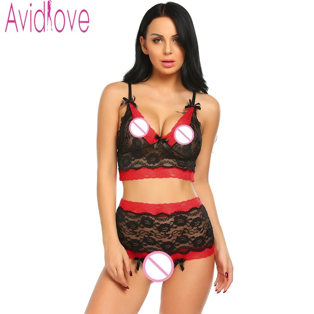 9fc724e4788 Avidlove Sexy Underwear Set Lingerie Women Underwire Lace Bra and  Crotchless Panties Thong Erotic Hot Sex
