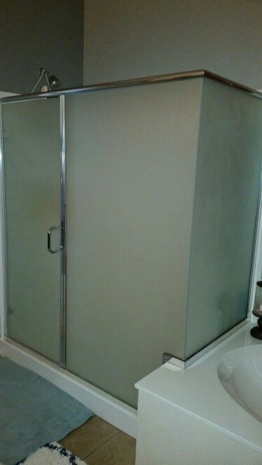 Clear glass shower walls painted with Rustoleum frosted glass ...