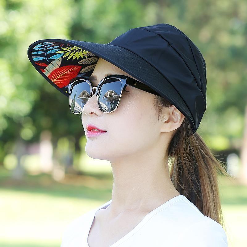 ac8a60e5ae3 Fashion Woman Foldable Wide Brim Summer Beach Visor Cap Outdoor Prevent Sun  Hat