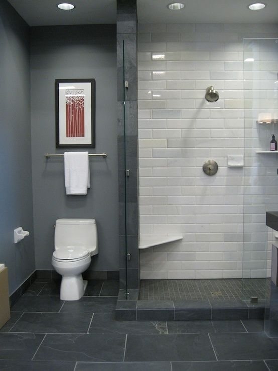 Exceptionnel Bathrooms   Black Slate Floor White Stone Subway Tile In Shower Blue Gray  Walls Shower Surround Frameless Glass Shower Kirsty Froelich Bathroom