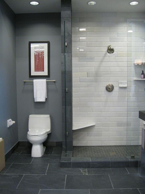 bathrooms - black slate floor white stone subway tile in shower blue ...