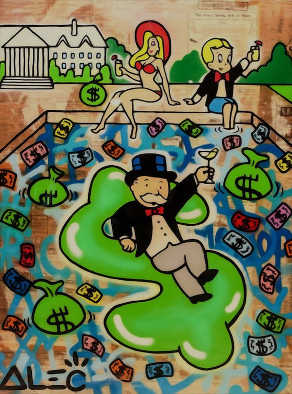 Alec Monopoly Oil Painting On Canvas Graffiti Artist Wall Decor