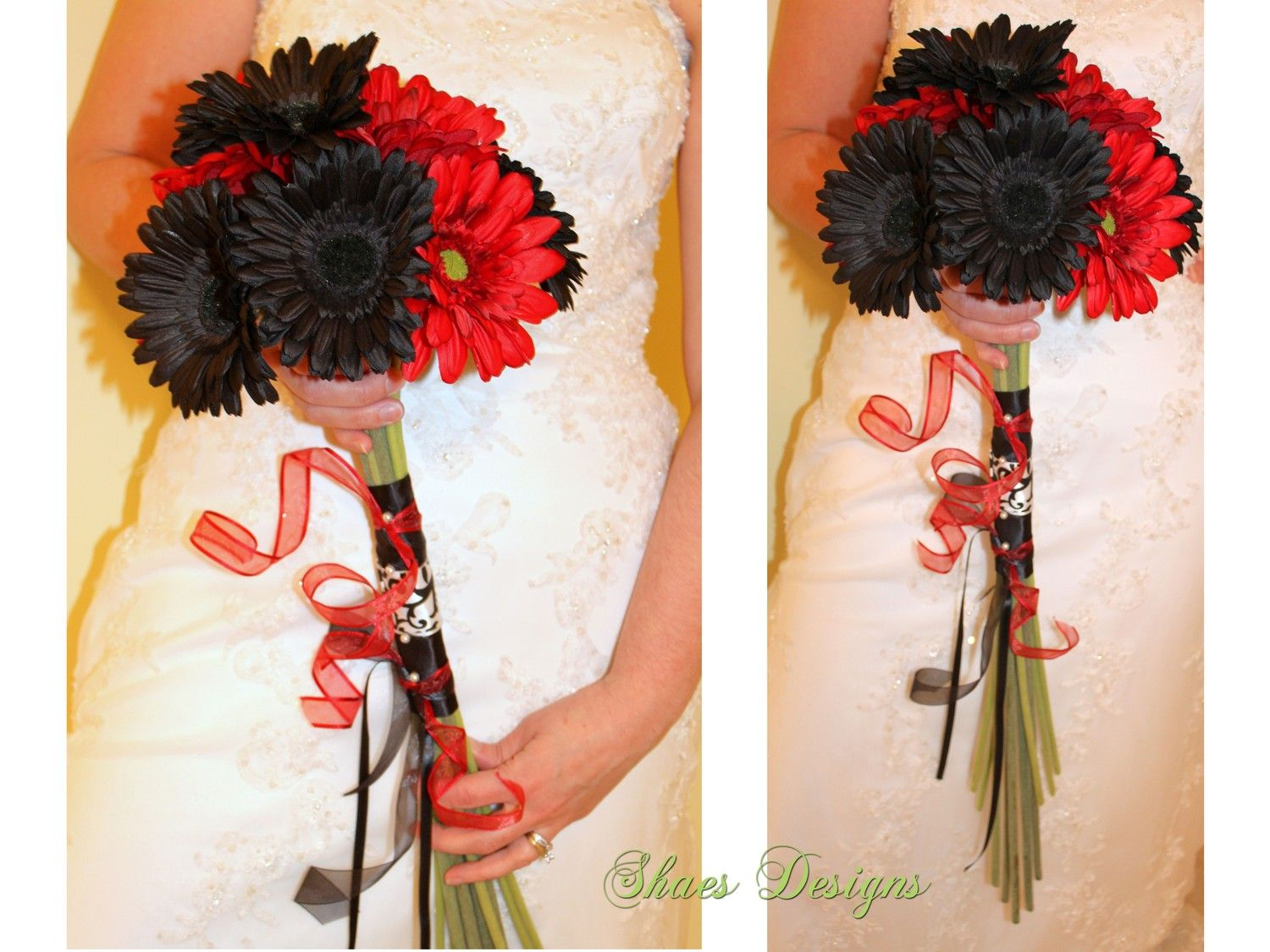 White and red gerbera daisy wedding bridal bouquet gerbera white and red gerbera daisy idea izmirmasajfo