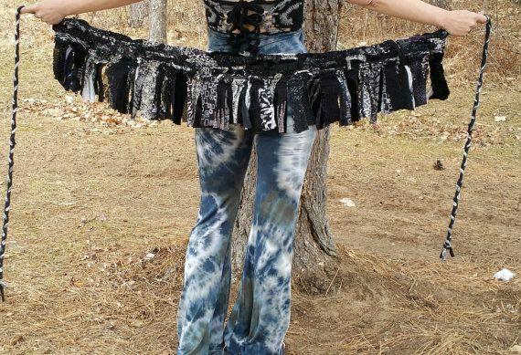 SALE layered scrap wrap skirt scrap skirt pixie skirt festival belt wrap belt upcycled skirt handmade skirt ooak tattered skirt scrap fabric