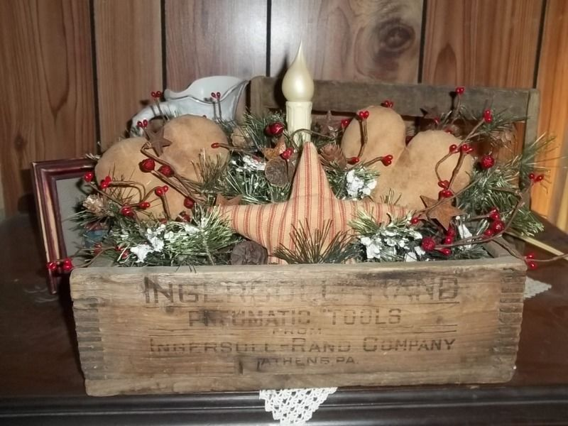 Primitive Wooden Box Hearts Star Candle Lamp Country