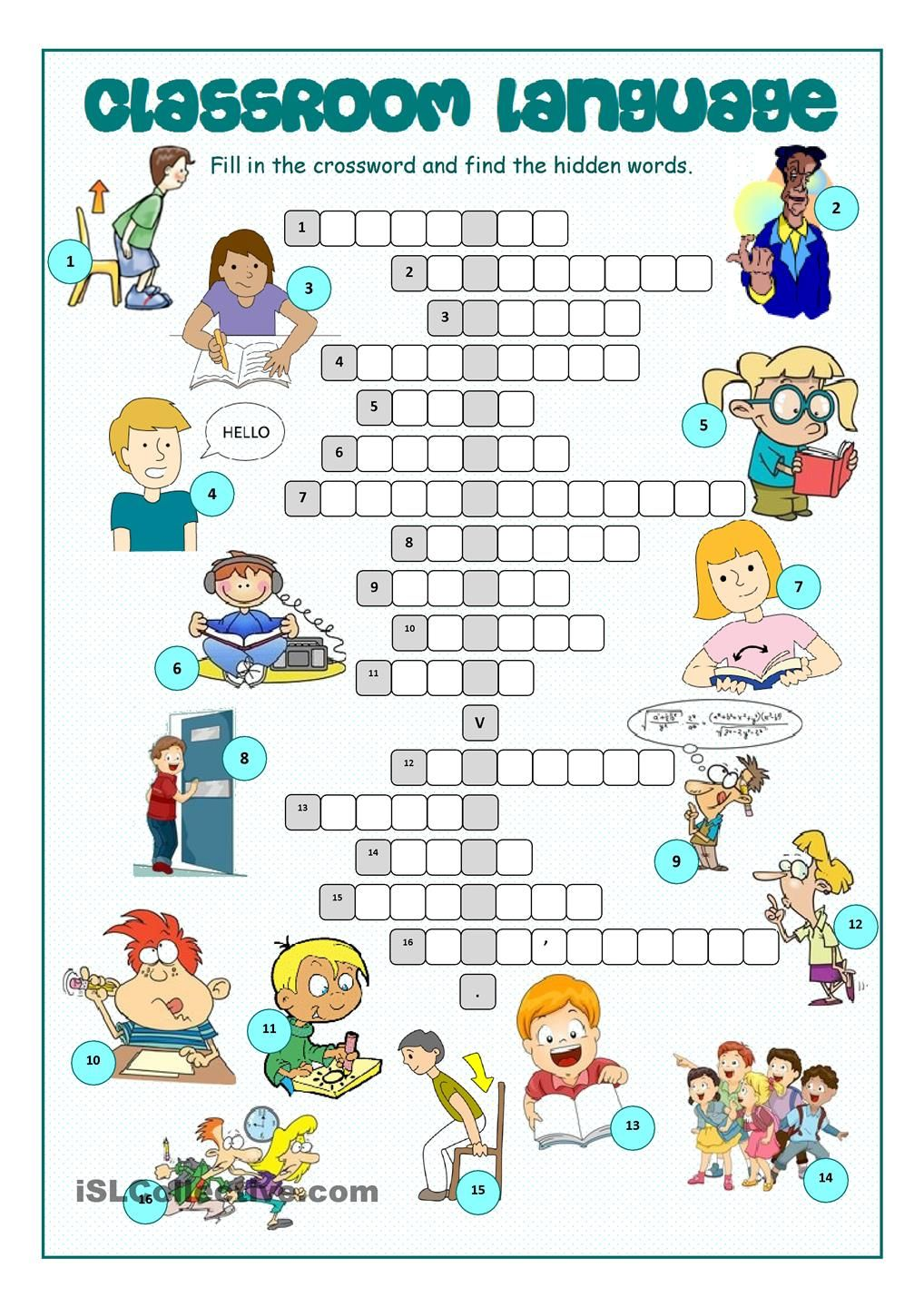worksheet English Language Puzzles Worksheets classroom language crossword puzzle pinterest worksheet free esl printable works