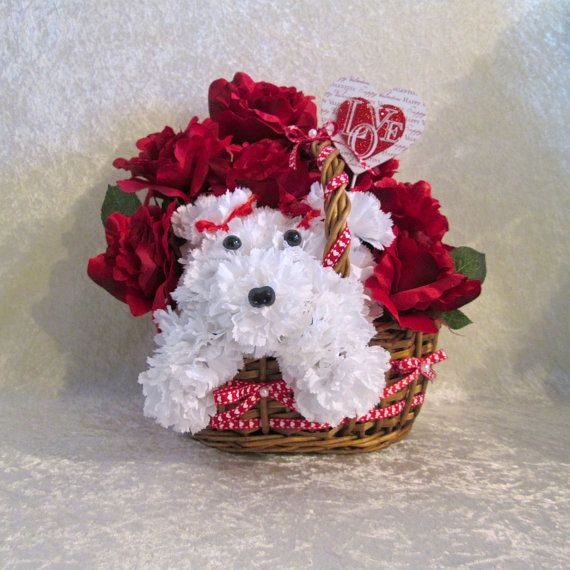 Valentine Silk Flower Arrangement In A Basket With Red Roses And A
