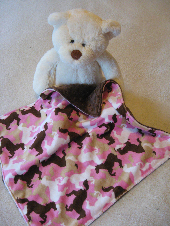Baby lovey blanket horse lover gift minky baby blanket