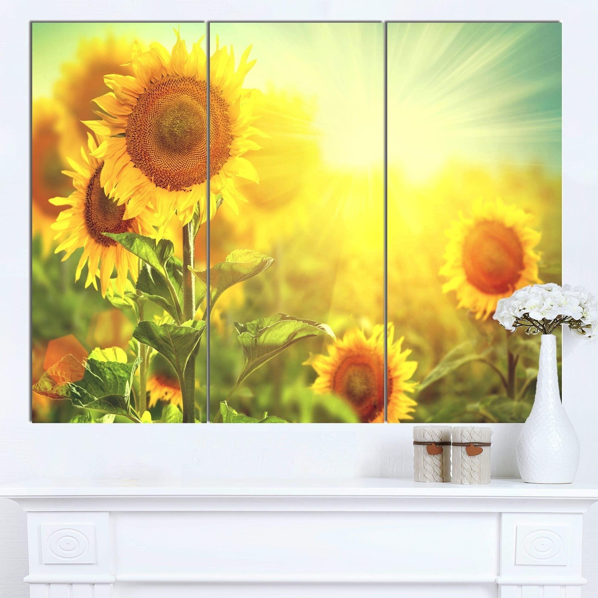 Designart \'Sunflowers blooming on the field\' Animal Canvas Wall Art ...