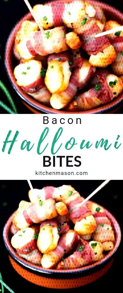 These irresistible Bacon Halloumi Bites are seriously easy to make and the perfect party food! Idea