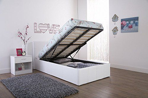 Caspian Ottoman Gas Lift Up Storage Bed - White 3ft Single by Right ...