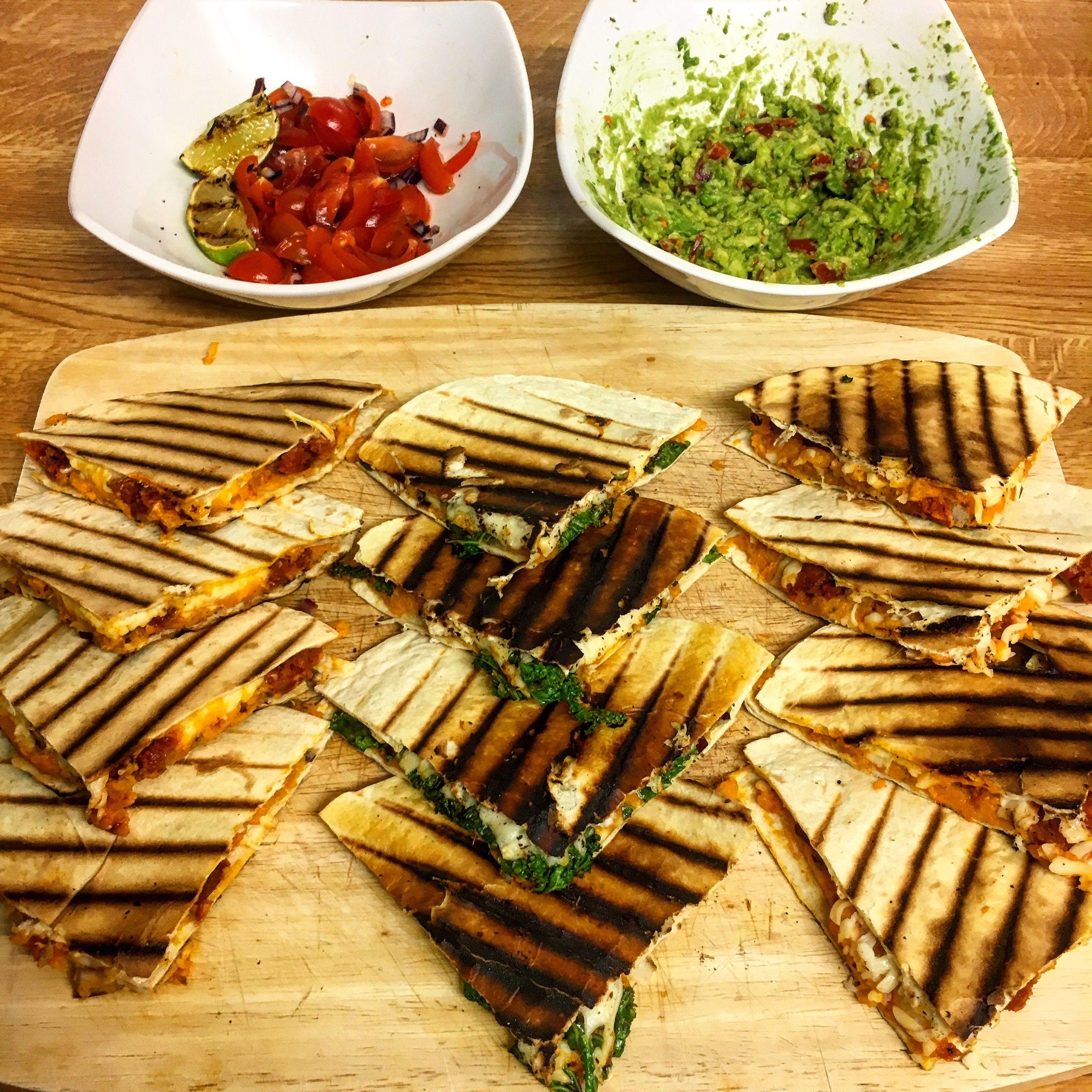 Sweet potato and chorizo and sweet potato, chilli and kale quesadillas with tomato salsa and guacamole