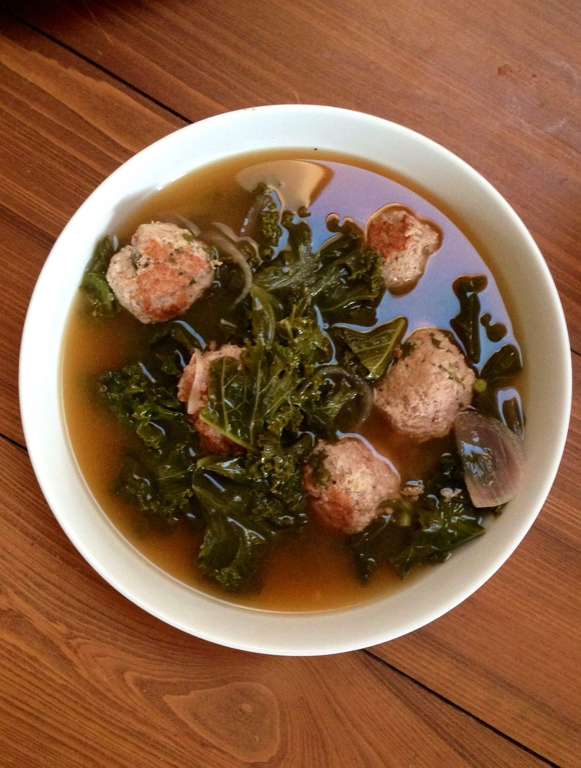 Spicy Turkey Meatball and Kale Soup