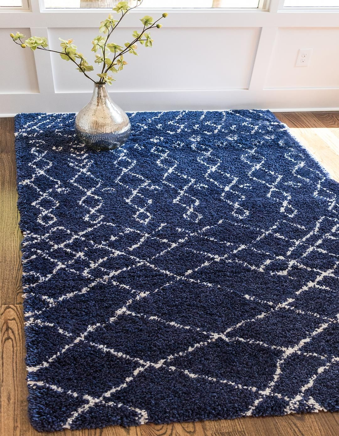 Navy Blue 5 X 8 Marrakesh Shag Rug Area Rugs Esalerugs Dark Blue Rug Blue Shag Rug Rugs