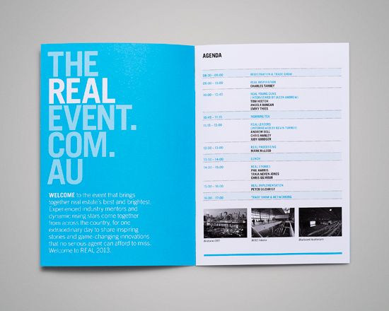 The Real Event Thursday - Ideas  Design Layout Booklet Design