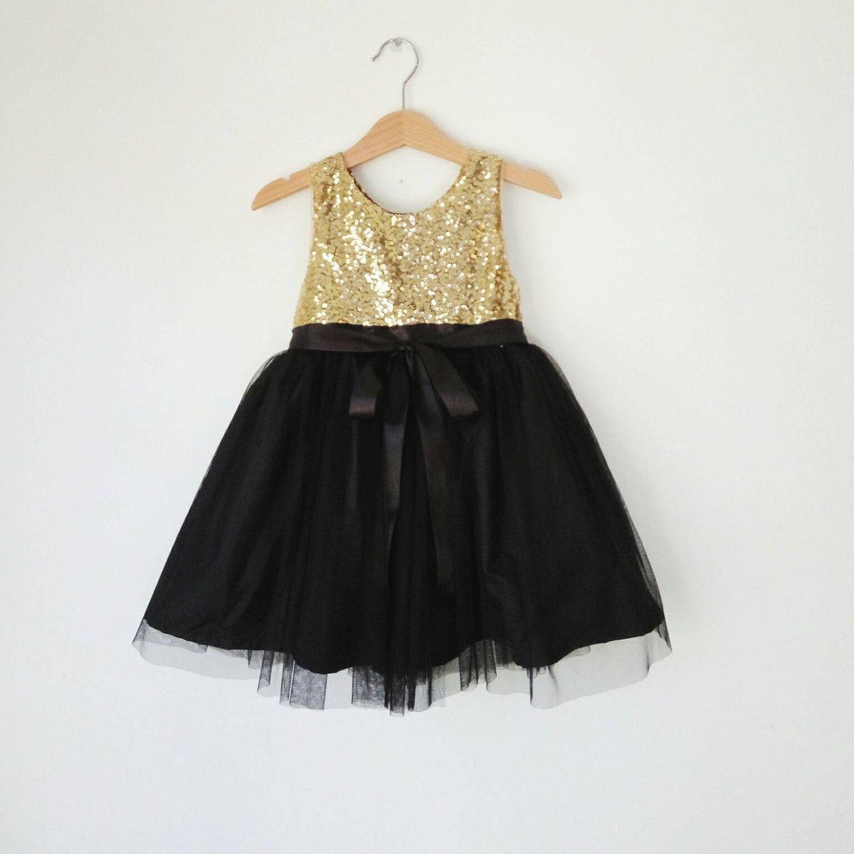 Gold and black flower girl dress gold sequin and black tutu girl